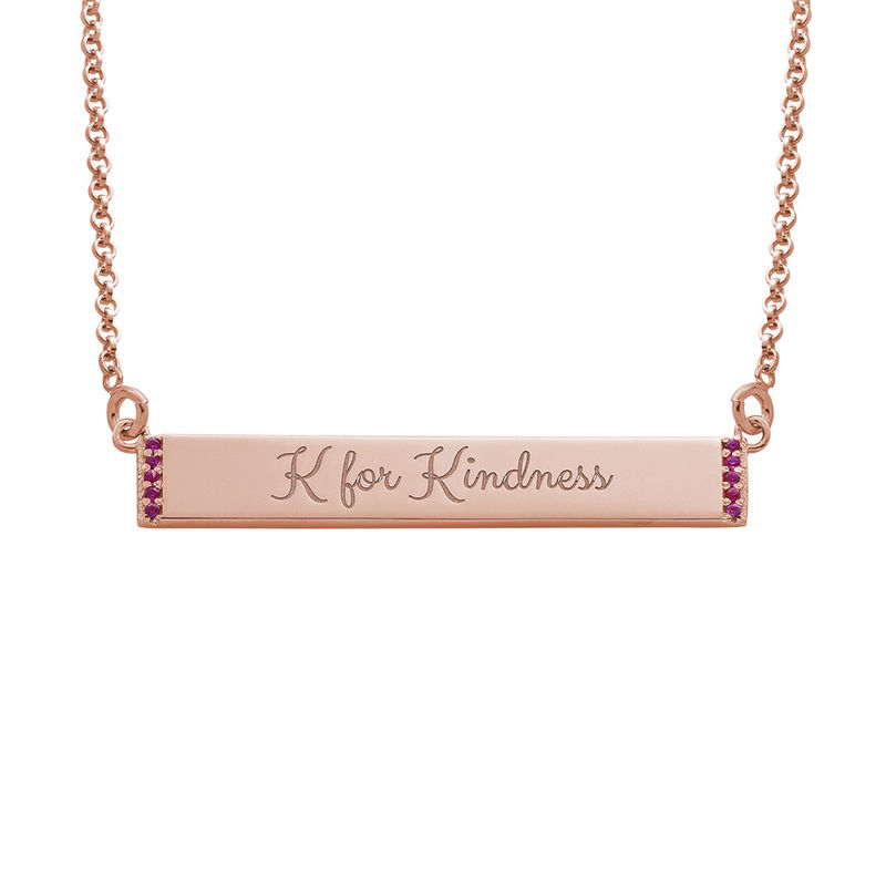 Inspirational Bar Necklace with Cubic Zirconia with 18K Rose Gold Plating