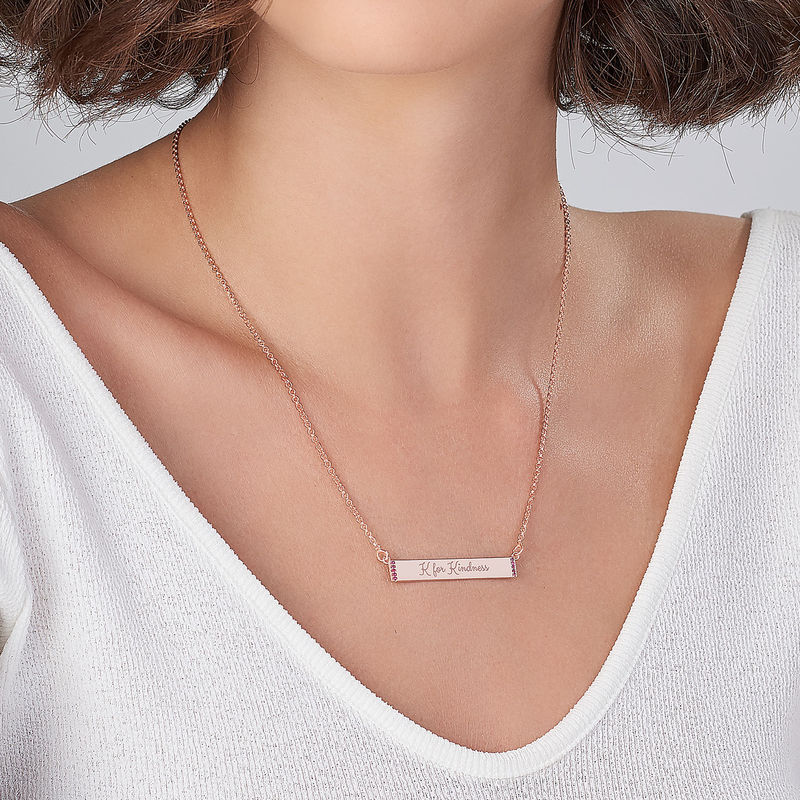 Inspirational Bar Necklace with Cubic Zirconia with 18K Rose Gold Plating - 2