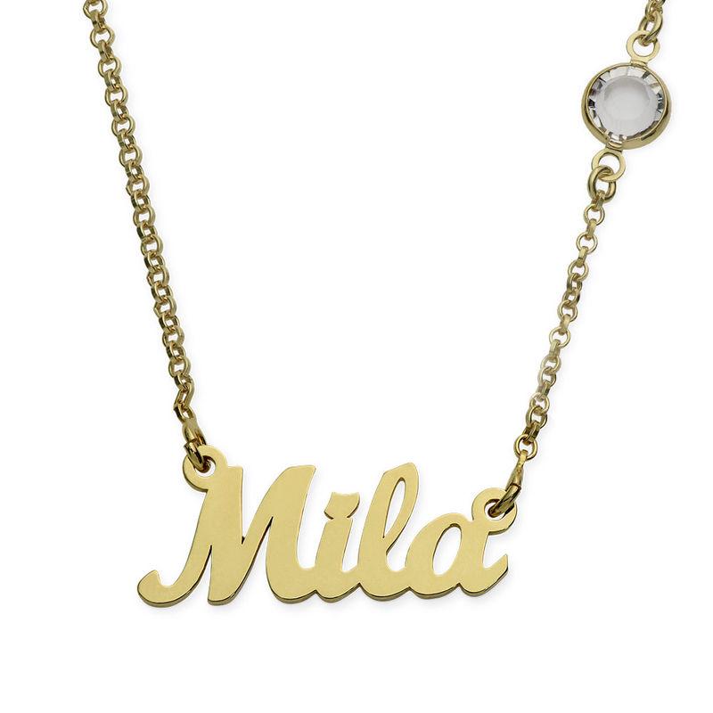 Name Necklace in Gold Plating with One Swarovski Stone