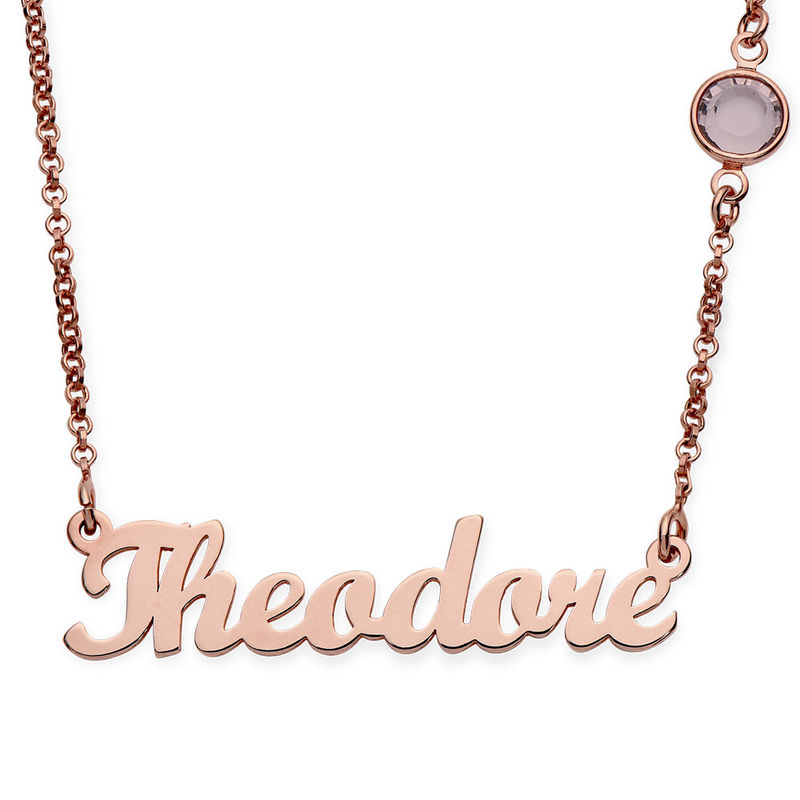 Name Necklace in Rose Gold Plating with One Swarovski Stone