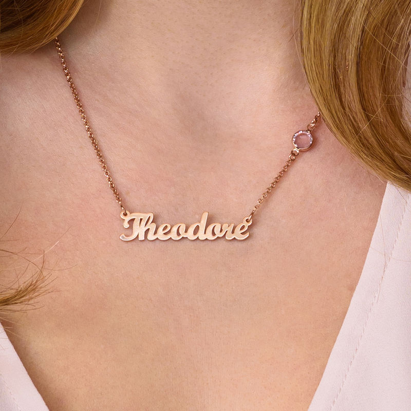 Name Necklace in Rose Gold Plating with One Swarovski Stone - 2