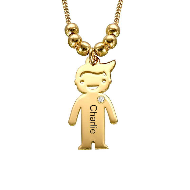 Kids Charms Mother Necklace in Gold Plating with Diamond - 1