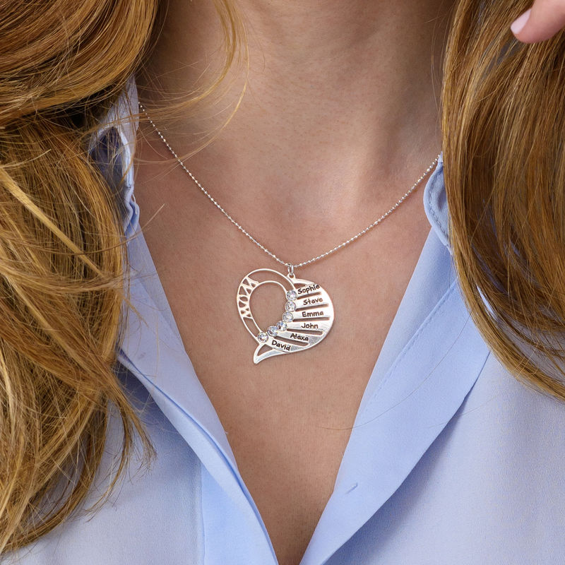 Engraved Mom Necklace with Clear Crystal - 3