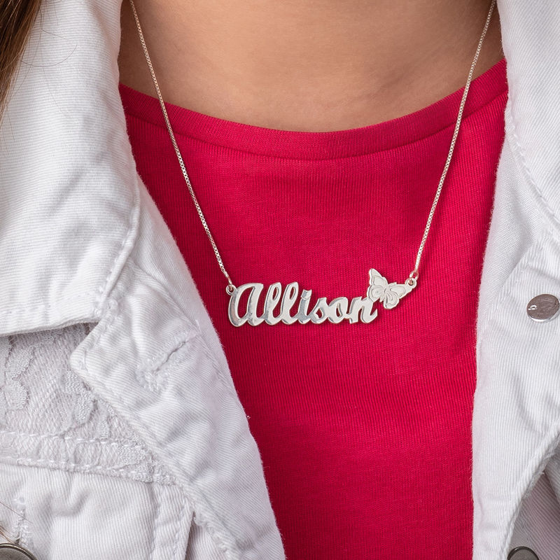 Teen's Butterfly Name Necklace in Sterling Silver - 2