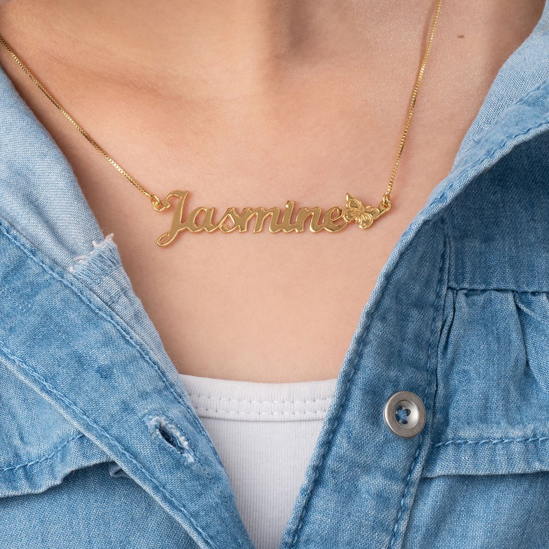 Teen's Butterfly Name Necklace with 18K Gold Plating - 1