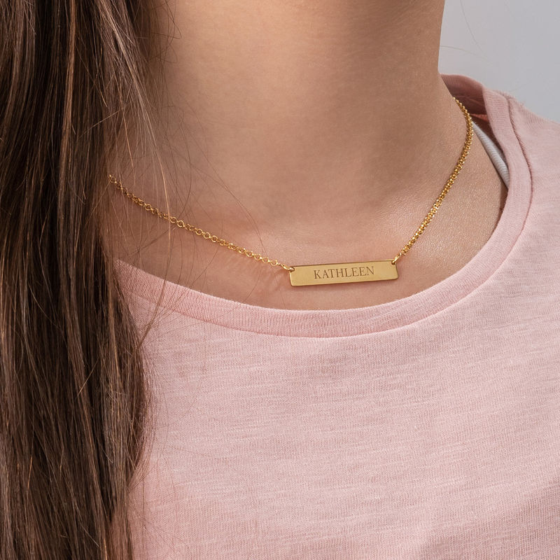Tiny 18K Gold Plated Bar Necklace with Engraving for Teens - 2