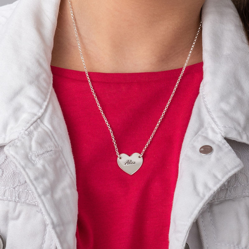 Engraved Heart Necklace in Sterling Silver for Teens - 2