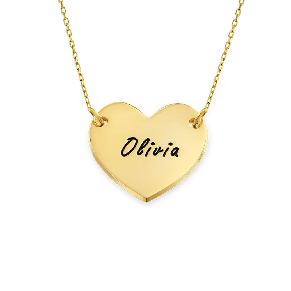 Engraved Heart Necklace in 10K Solid Gold for Teens