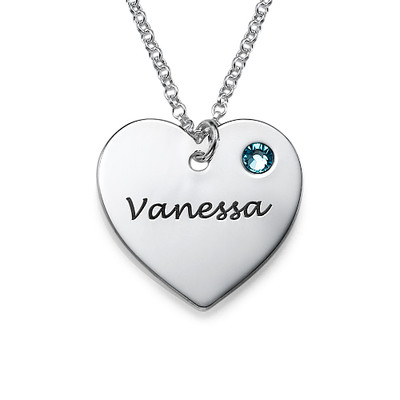 Teen's Personalized Heart Necklace with Birthstone in Silver