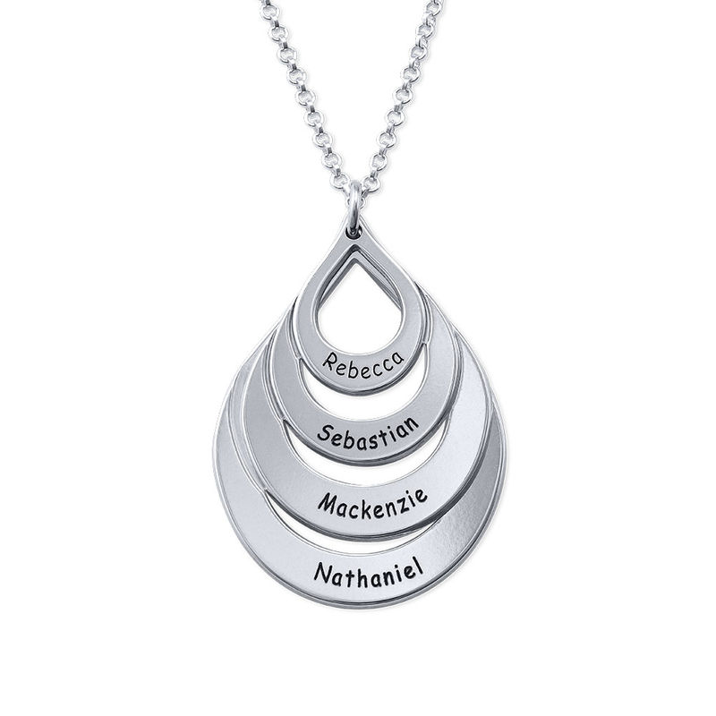 Engraved Sterling Silver Family Necklace - Four Drops
