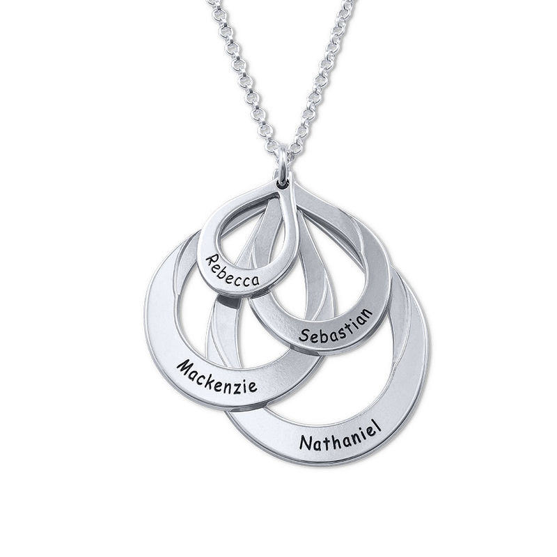 Engraved Sterling Silver Family Necklace - Four Drops - 1