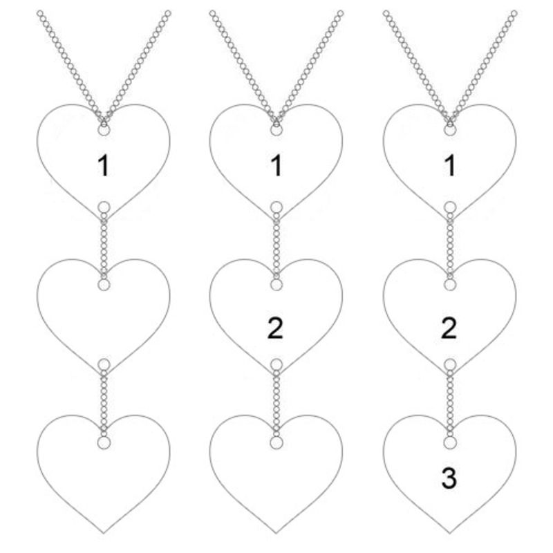 Personalized Y Necklace in Sterling Silver with Heart Shaped Pendants - 5
