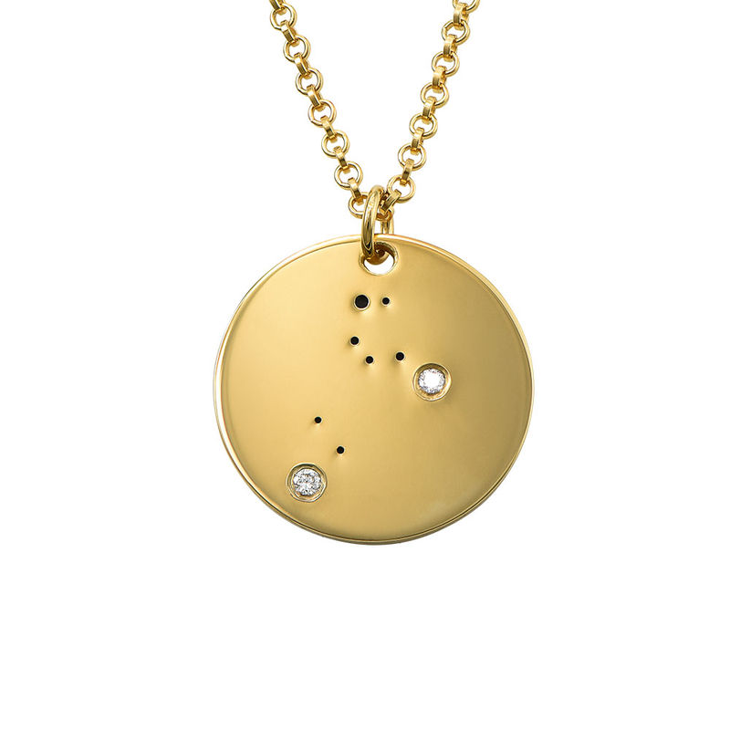 Leo Constellation Necklace with Diamonds in Gold Plating