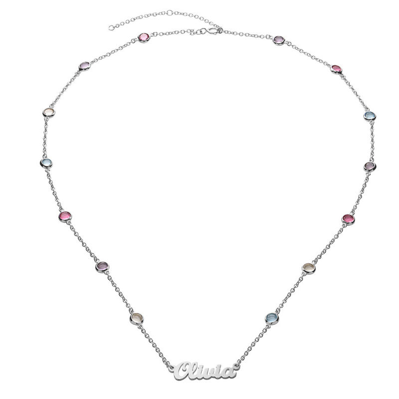 Name Necklace with Multi Colored Stones in Silver - 1