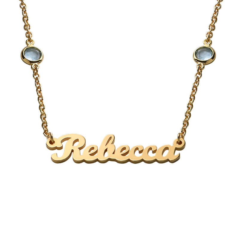 Name Necklace with Multi Colored Stones in Gold Plating
