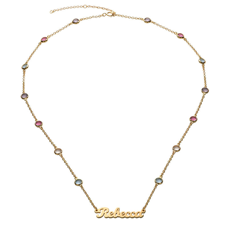 Name Necklace with Multi Colored Stones in Gold Plating - 1