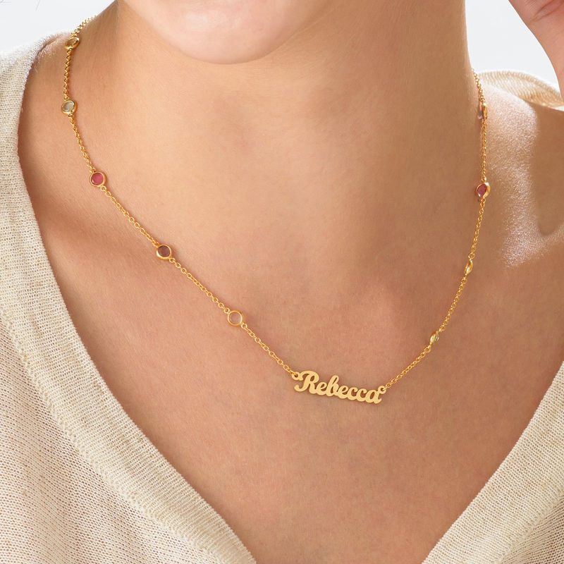 Name Necklace with Multi Colored Stones in Gold Plating - 3