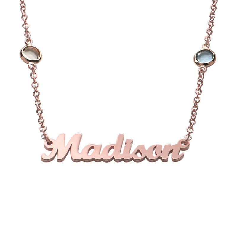 Name Necklace with Multi Colored Stones in Rose Gold Plating