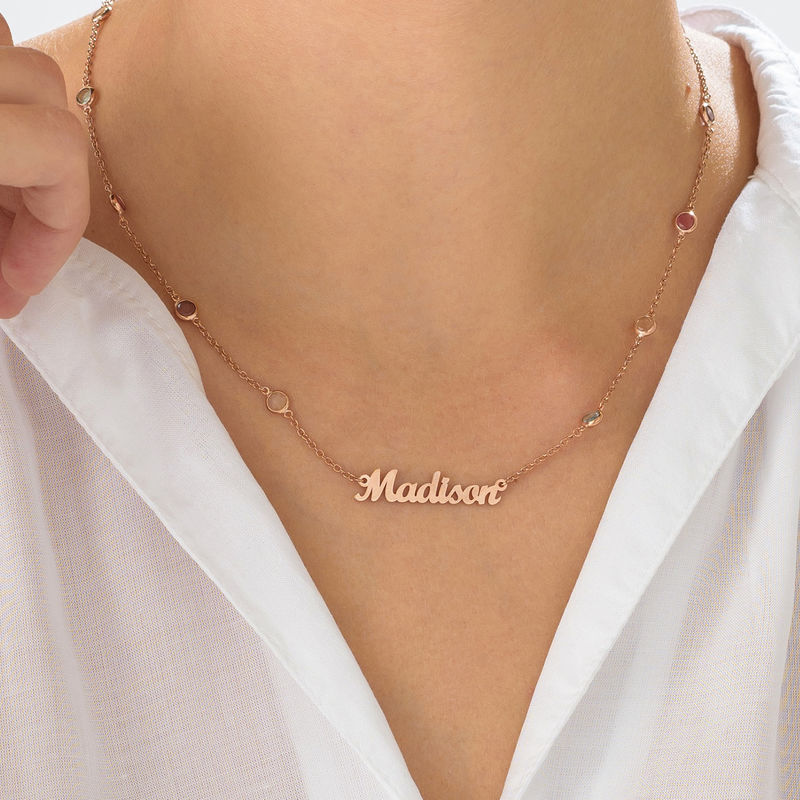 Name Necklace with Multi Colored Stones in Rose Gold Plating - 3