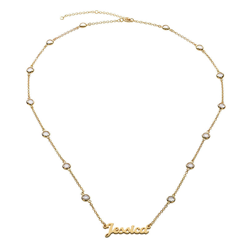 Name Necklace with Clear Crystal Stone in Gold Plating - 1