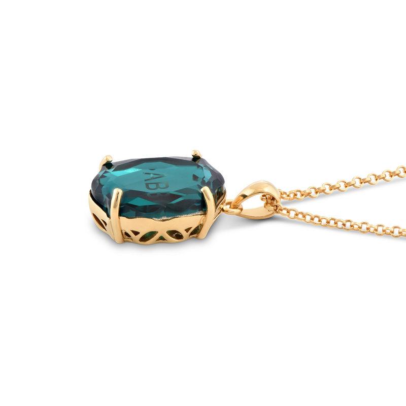 Swarovski Stone Engraved Necklace in Gold Plating - 1
