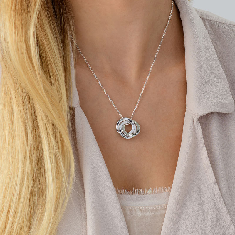 Russian Ring Necklace with Cubic  Zirconia in Silver - 3
