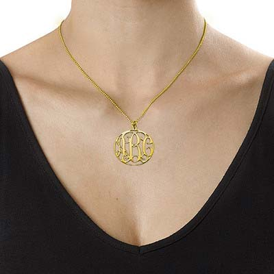 18k Gold Plated Circle Monogram Necklace - 1