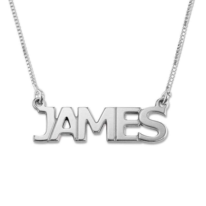 Silver Name Necklace for Men-Capital Letters