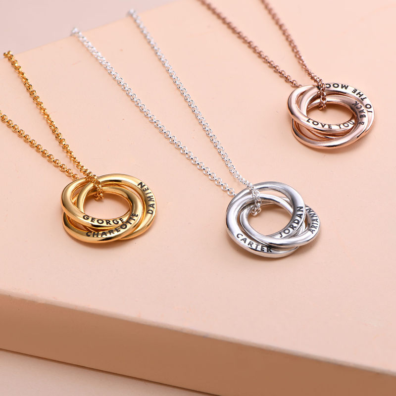 Russian Ring Necklace in Silver - Irregular Circle Design - 1