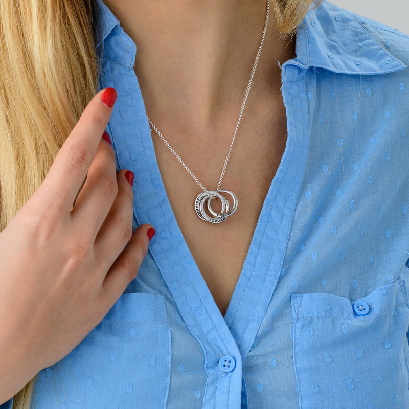 Russian Ring Necklace in Silver - Irregular Circle Design - 3
