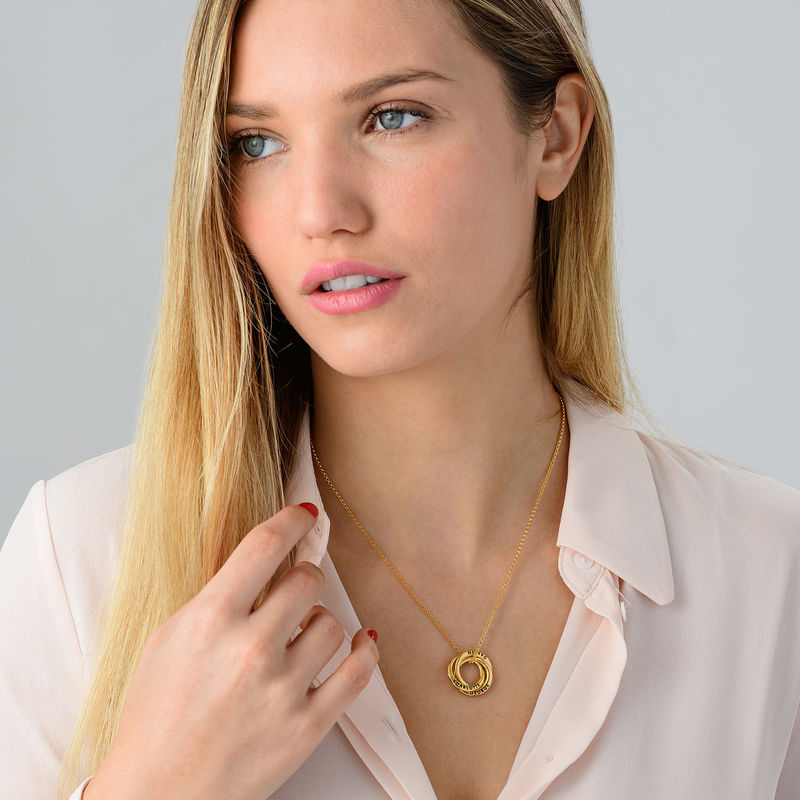 Russian Ring Necklace in Gold Plating - Irregular Circle Design - 2
