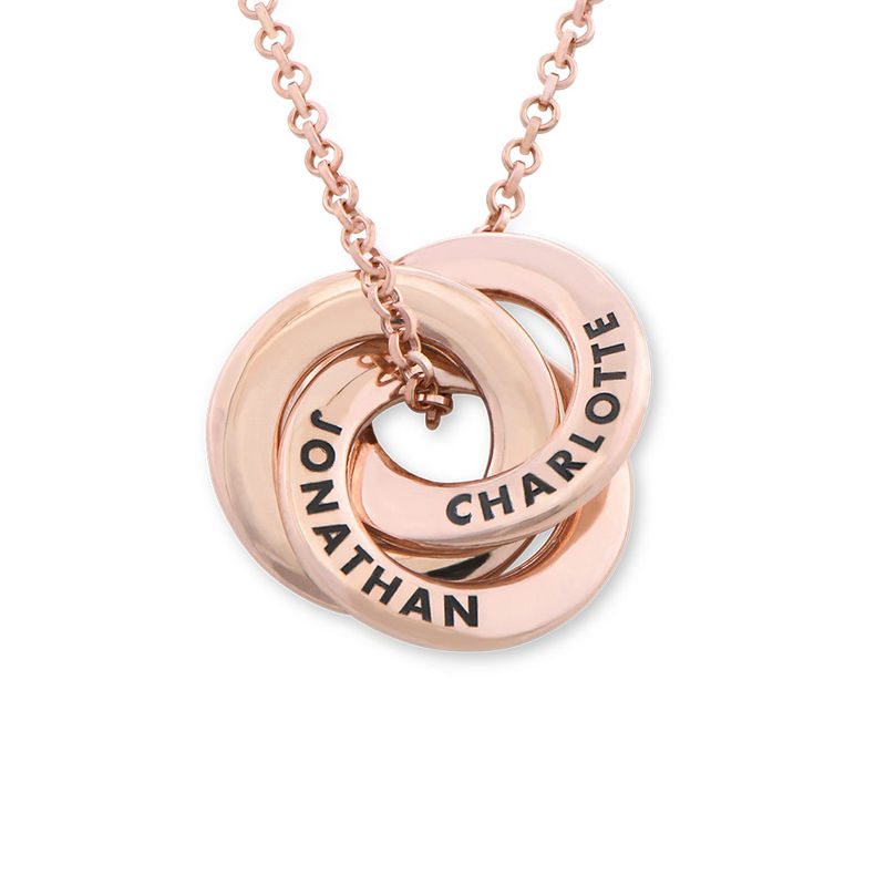 Russian Ring Necklace in Rose Gold Plating - Mini Design
