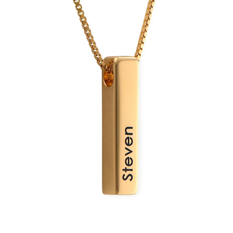 Short 3D Bar Necklace in Gold Plating - 1