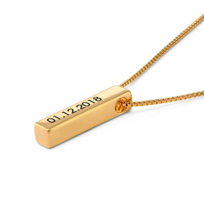 Short 3D Bar Necklace in Gold Plating - 2