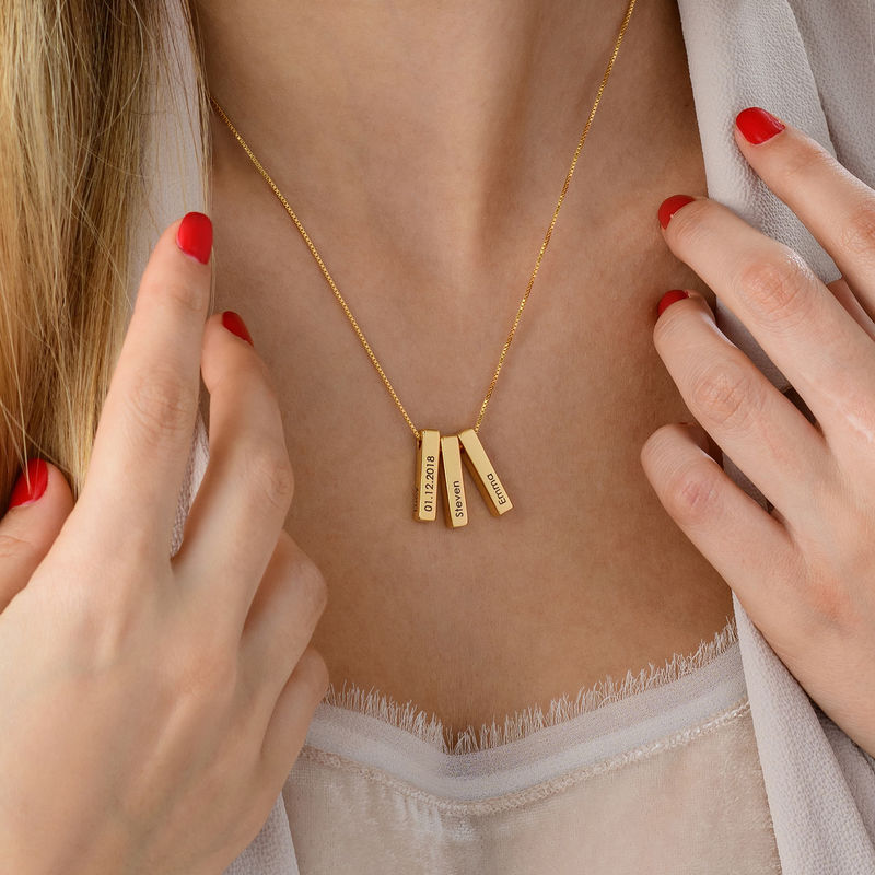 Short 3D Bar Necklace in Gold Plating - 6
