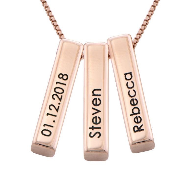 Short 3D Bar Necklace in Rose Gold Plating