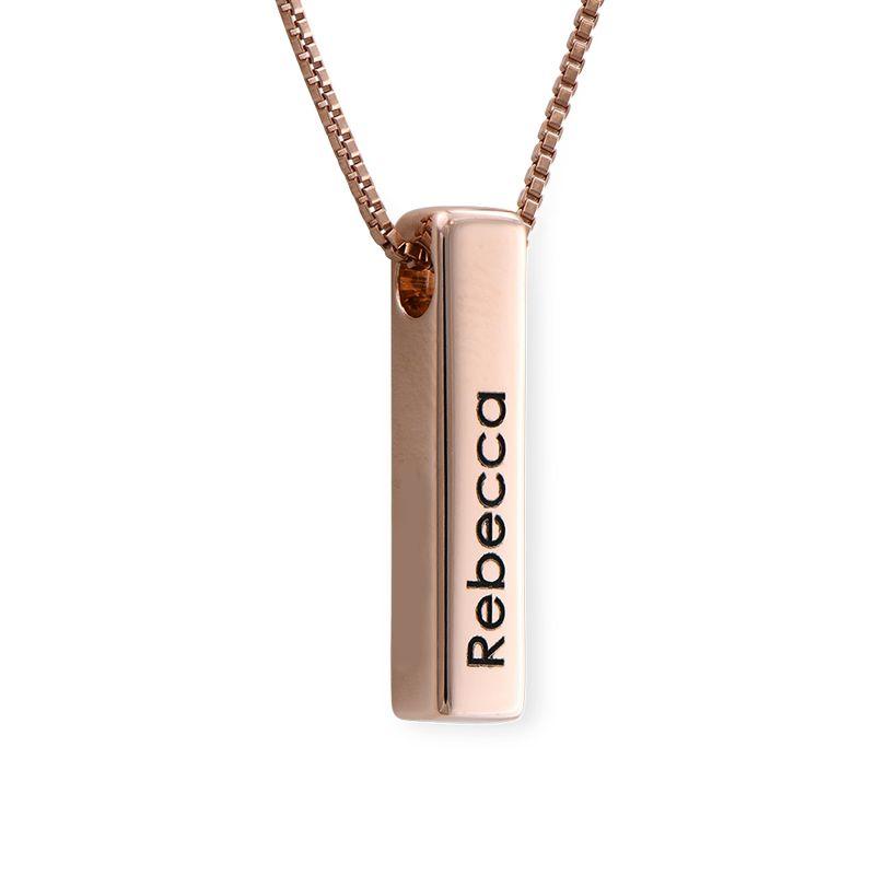 Short 3D Bar Necklace in Rose Gold Plating - 1