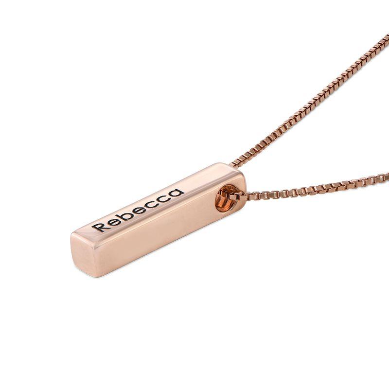 Short 3D Bar Necklace in Rose Gold Plating - 2