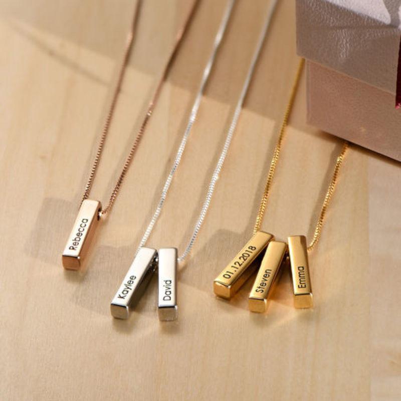Short 3D Bar Necklace in Rose Gold Plating - 4
