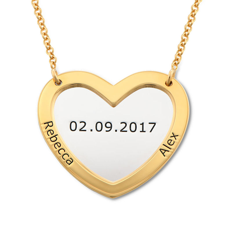 Double Heart Necklace in Silver and Gold Plating