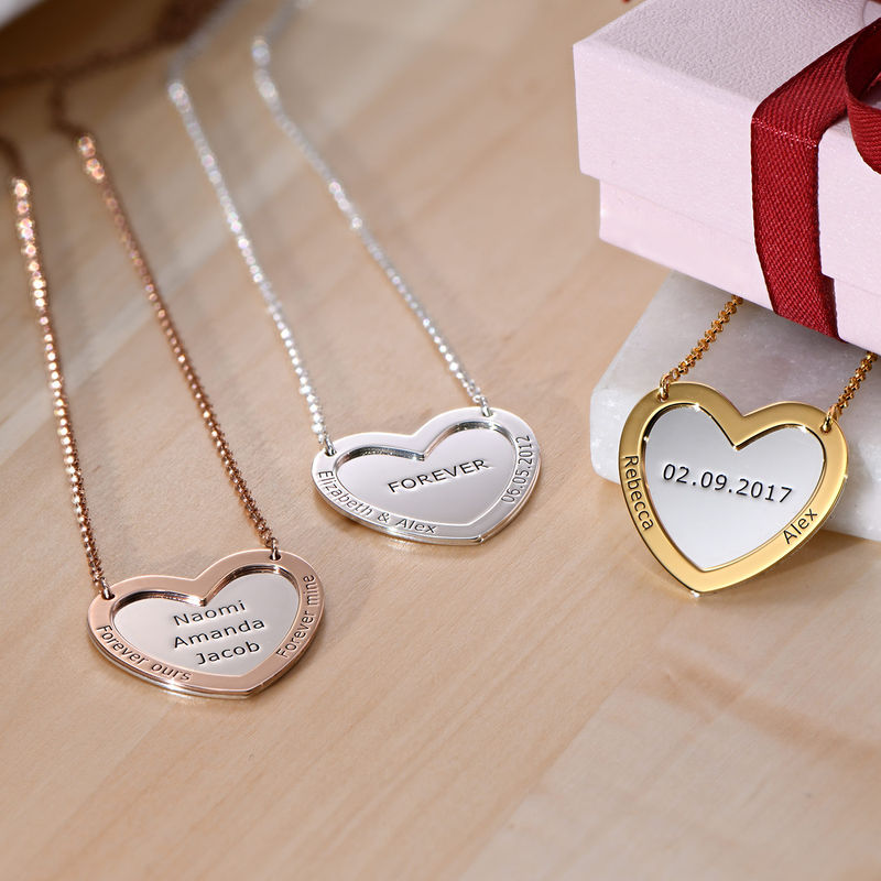 Double Heart Necklace in Silver and Gold Plating - 1