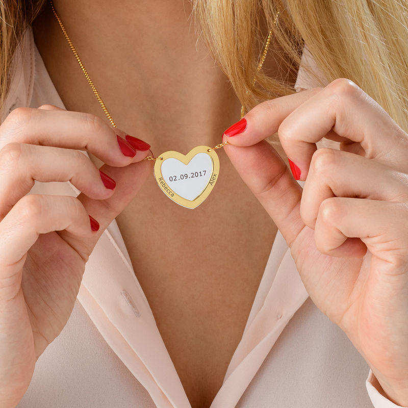 Double Heart Necklace in Silver and Gold Plating - 3