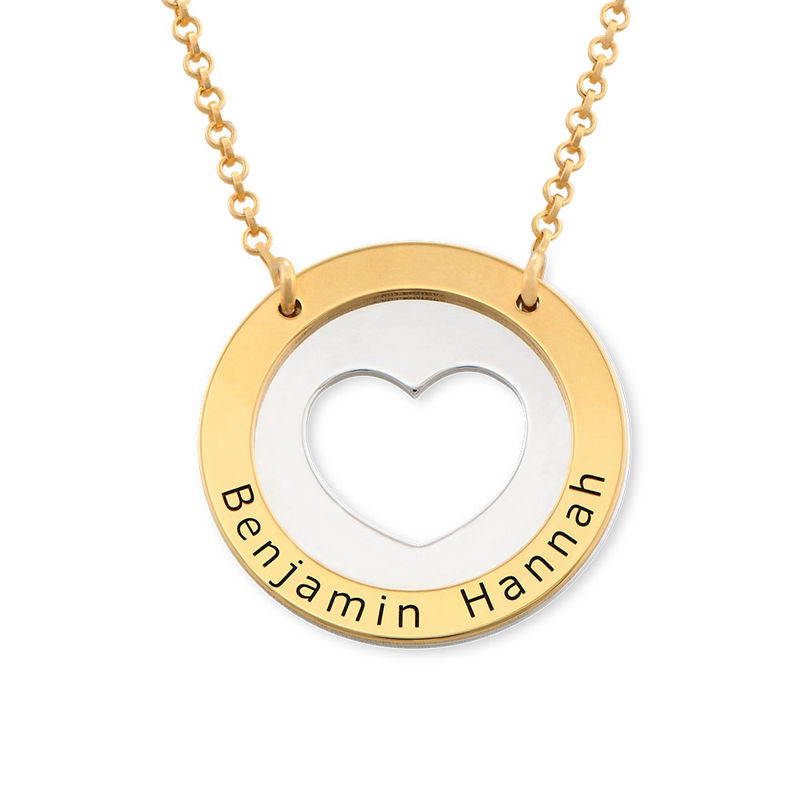 Circle Heart Necklace in Silver and Gold Plating