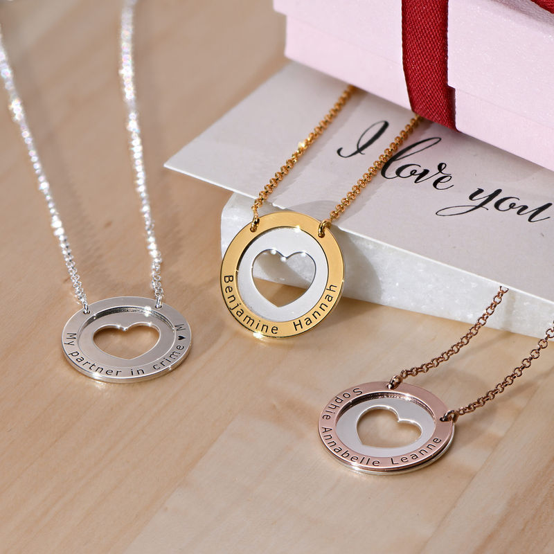Circle Heart Necklace in Silver and Gold Plating - 1