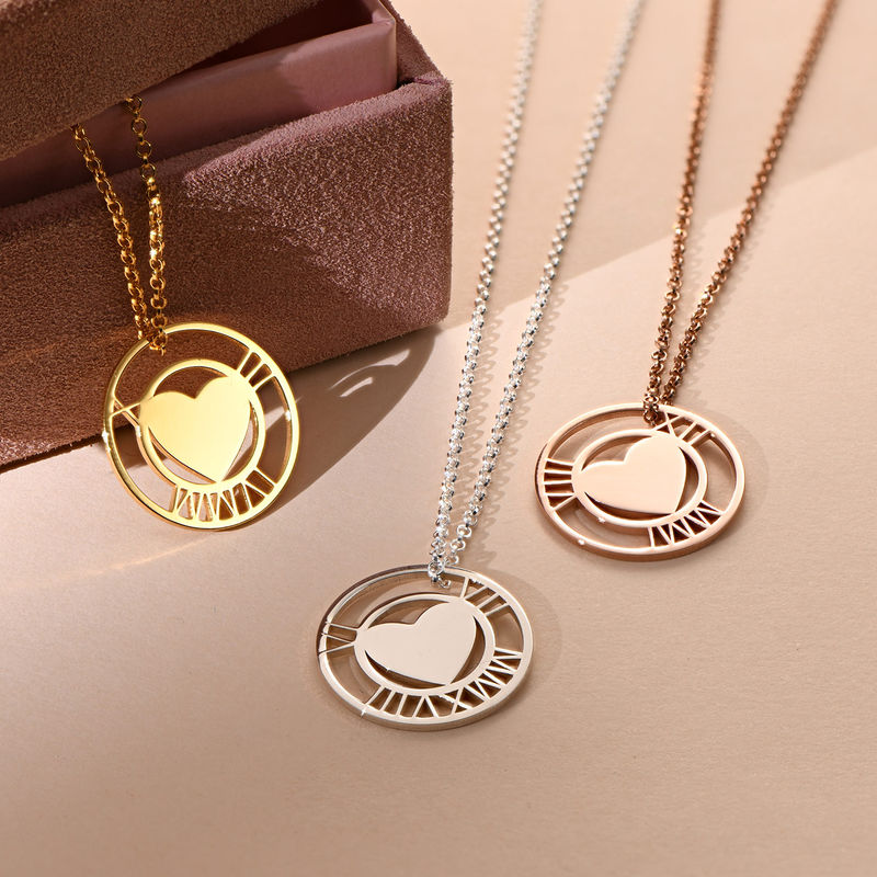 Roman Numeral Heart Circle Necklace in Silver - 1