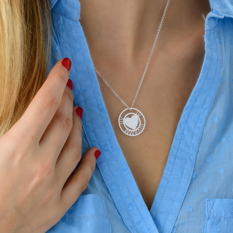 Roman Numeral Heart Circle Necklace in Silver - 3