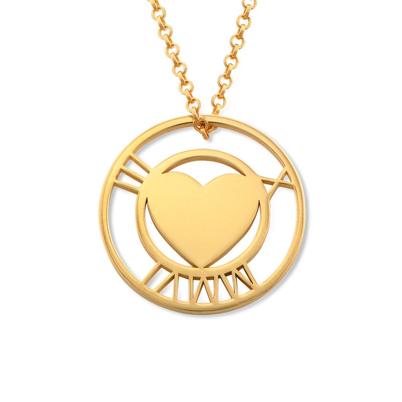Roman Numeral Heart Circle Necklace in Gold Plating