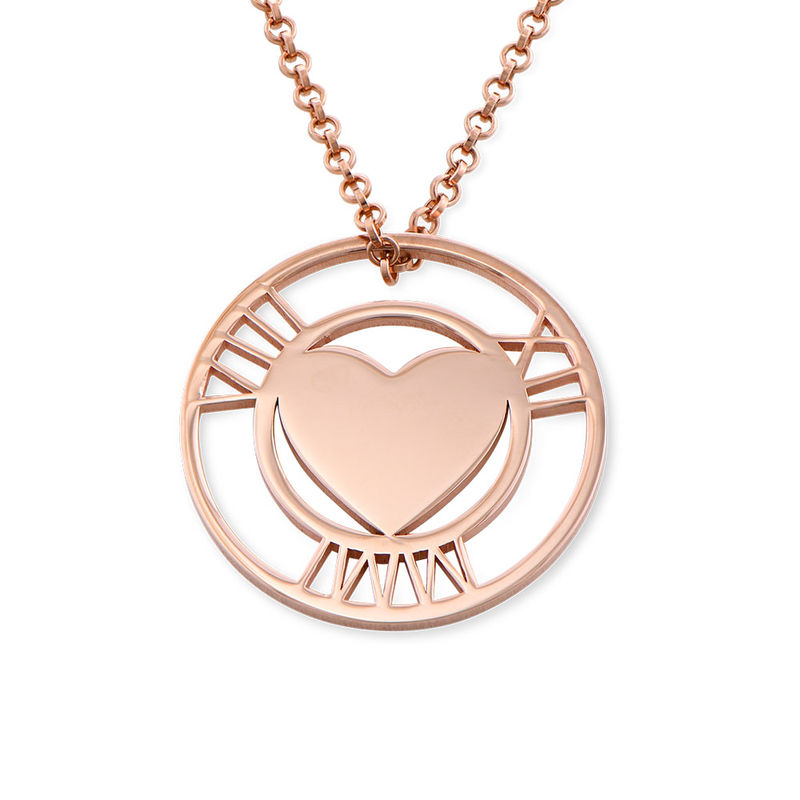 Roman Numeral Heart Circle Necklace in Rose Gold Plating