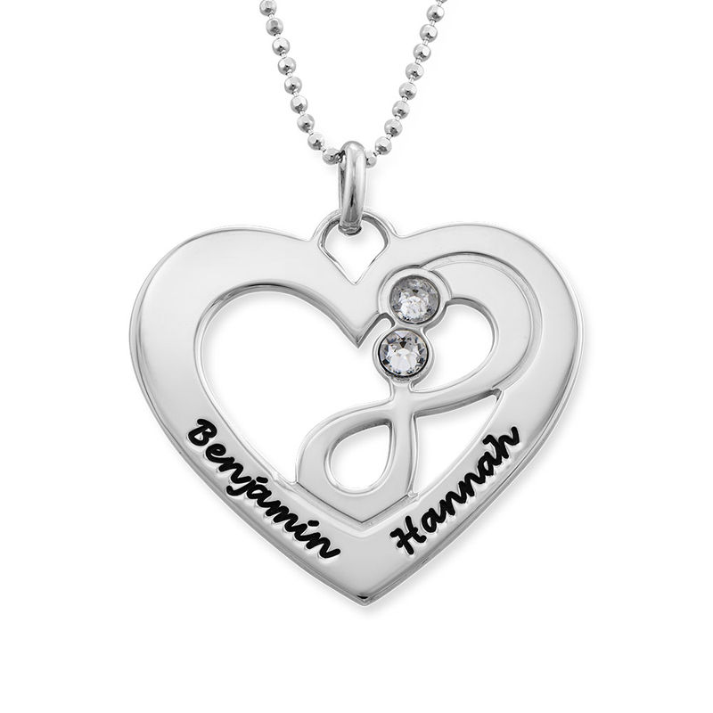Heart Infinity Necklace in Silver - 1