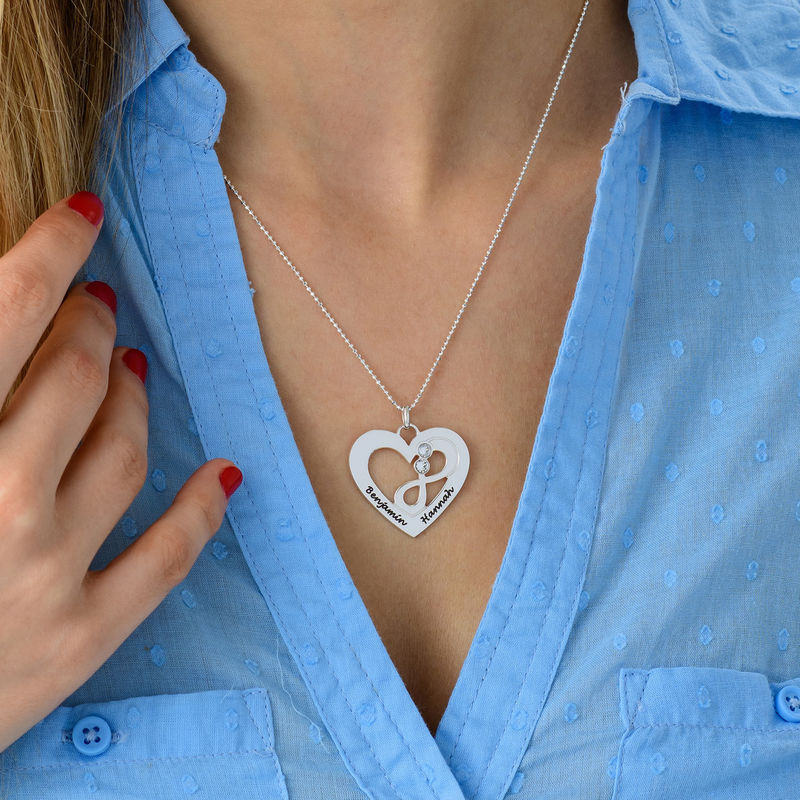 Heart Infinity Necklace in Silver - 4